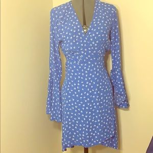 Blue wrap belle sleeve dress